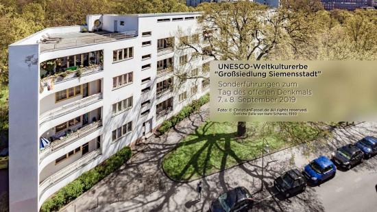 Sicht auf einen Zeilenbau von Hans Scharoun im UNESCO-Welterbe