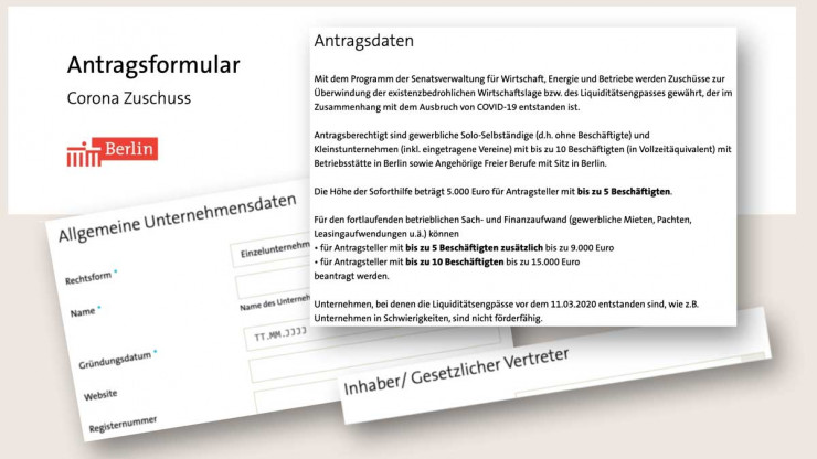 IBB Corona-Zuschuss Onlineformular