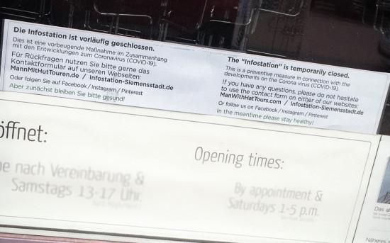 Infostation Siemensstadt muß wegen der Eindämmung des Coronavirus vorläufig geschlossen werden.