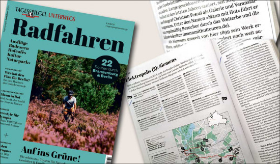 """Die Seiten des Tagesspiegel Sonderheftes Radfahren 2020 mit """"Mann mit Hut Touren"""" Bericht"""