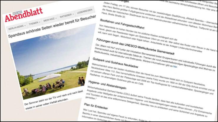 Der Artikel im Berliner Abendblatt zählt Mann mit Hut Touren mit Industriekultur und Welterbe zu den schönsten Seiten