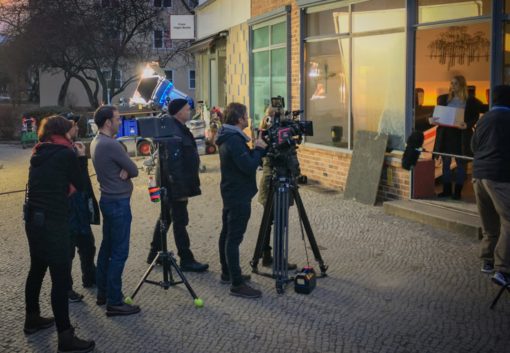 Dreharbeiten in der Infostation Siemensstadt
