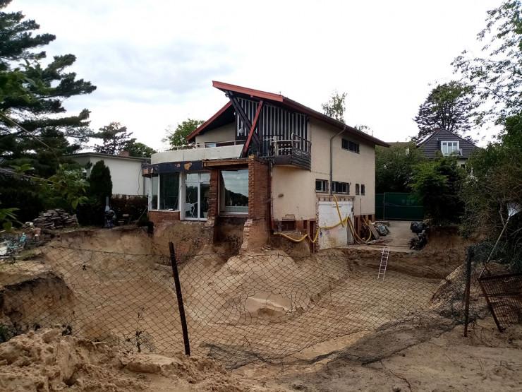 Das Haus Baensch von Hans Scharoun und die Bauarbeiten.